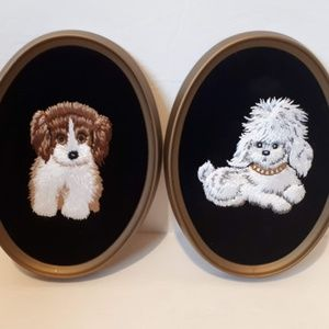 DOGS Framed Finished Crewel Embroidery Set of 2